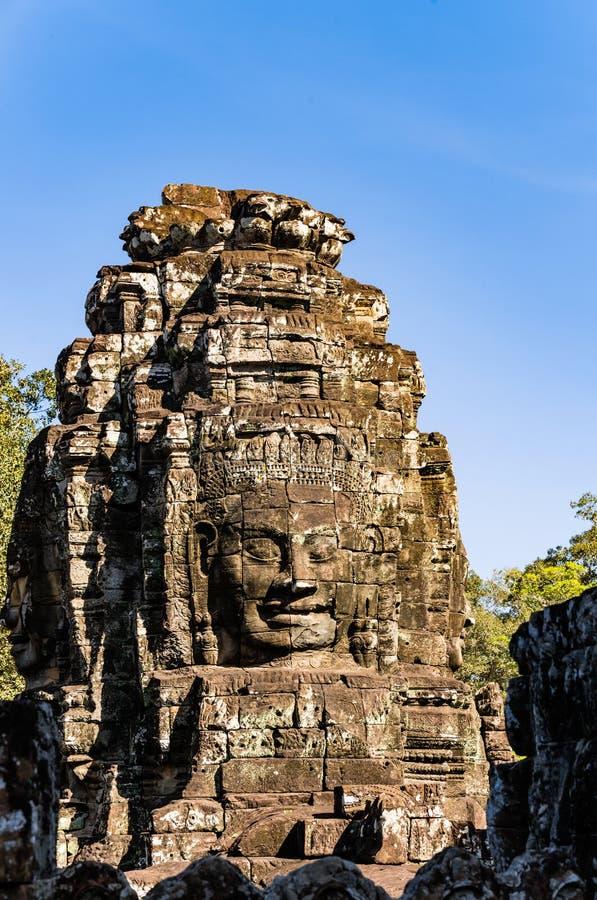 Smiley Faces del tempio di Bayon (Angkor Wat) immagini stock libere da diritti