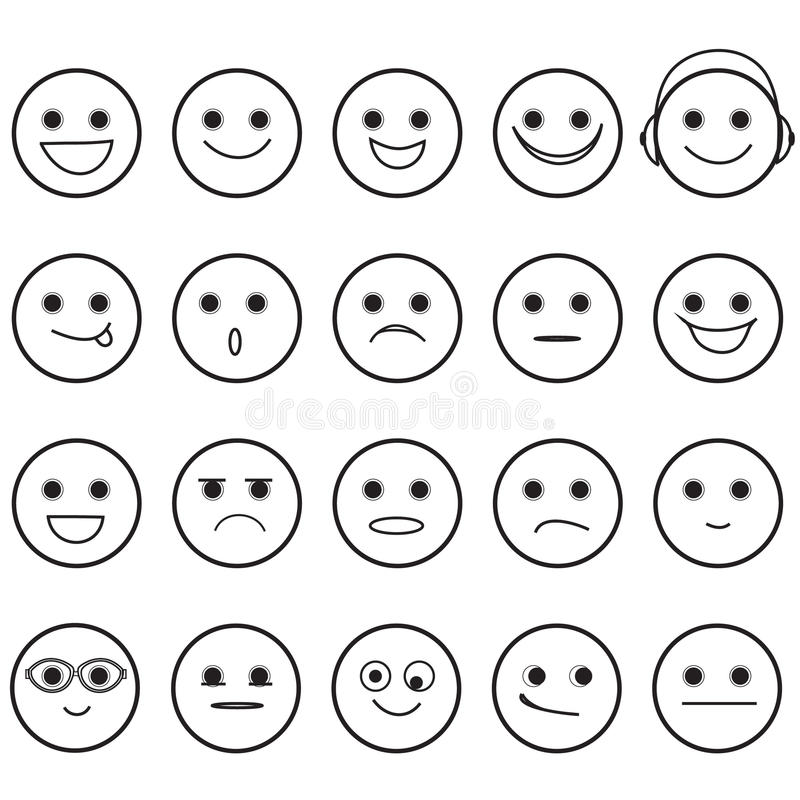 Smiley Faces Emoji Icons tiré par la main illustration de vecteur