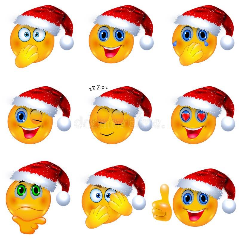 Smiley Faces giallo con il Natale Santa Hat sopra Illustrazione di vettore di Emoji illustrazione vettoriale