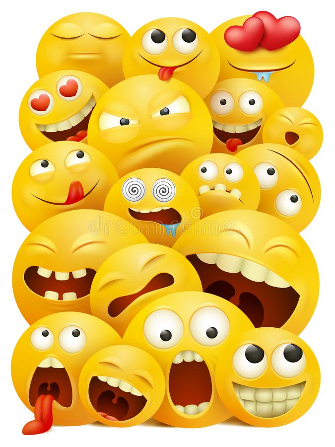 Smiley faces group of vector emoticon characters with funny facial expressions. 3D realistic vector illustration vector illustration