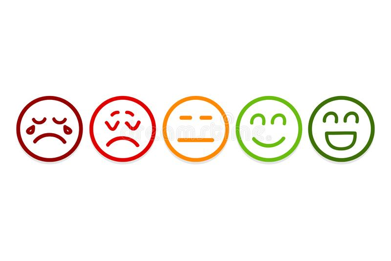 Smiley Faces Rating Icons. Customer Review, Rating, Like Concepts vector illustration