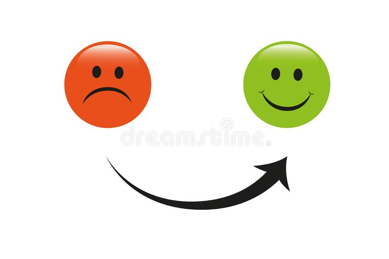 Smiley faces red and green arrow sad to happy icon vector illustration