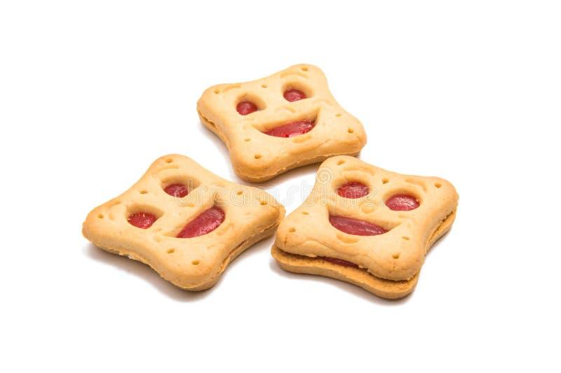 Smiley feito casa das cookies isolado imagem de stock royalty free