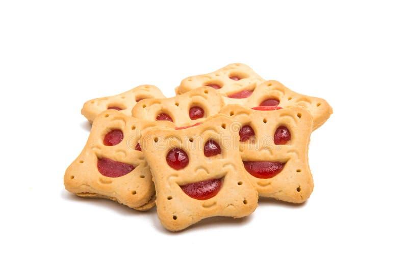 Smiley feito casa das cookies isolado fotos de stock royalty free