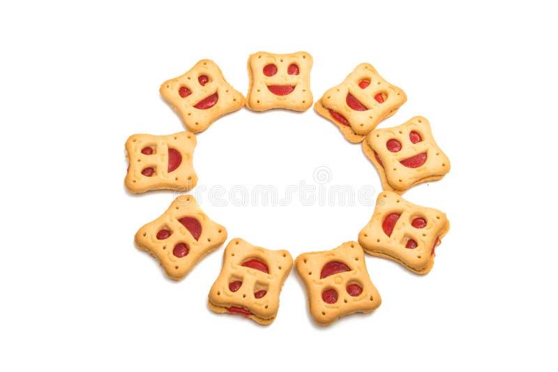 Smiley feito casa das cookies isolado fotografia de stock