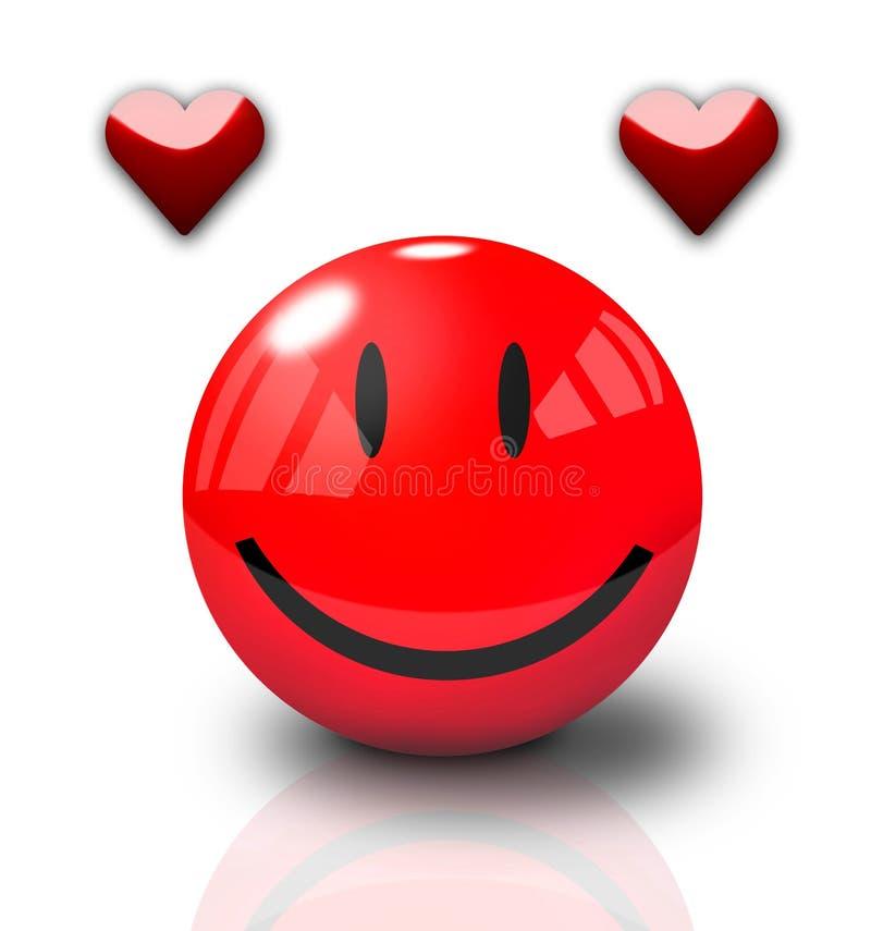 Smiley feliz do Valentim ilustração do vetor