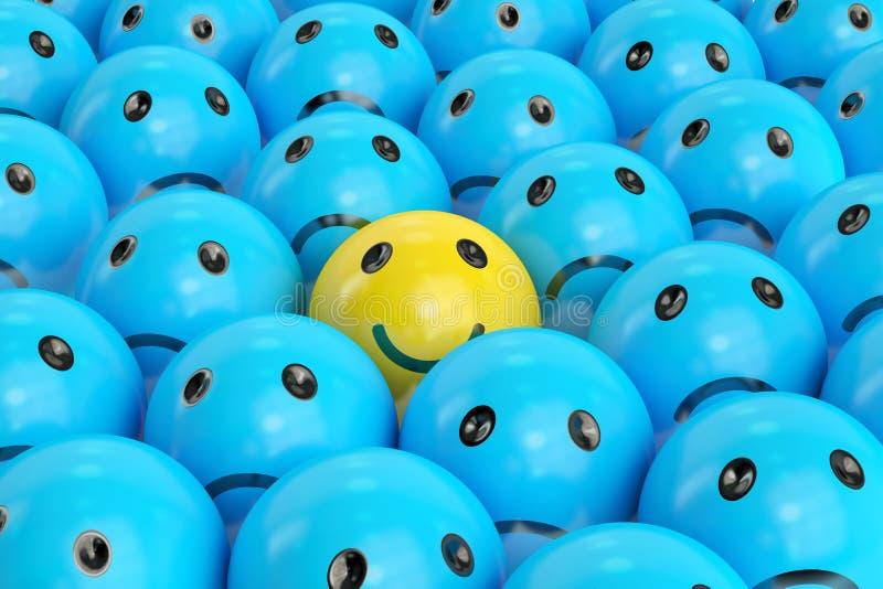Smiley feliz entre los tristes stock de ilustración