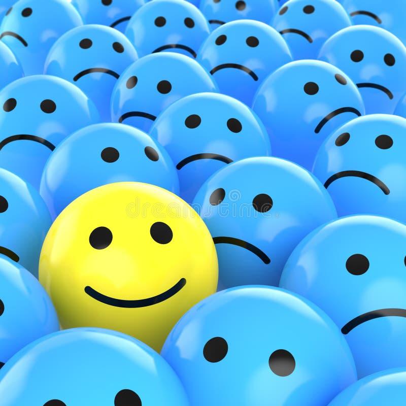 Smiley feliz entre os tristes ilustração do vetor