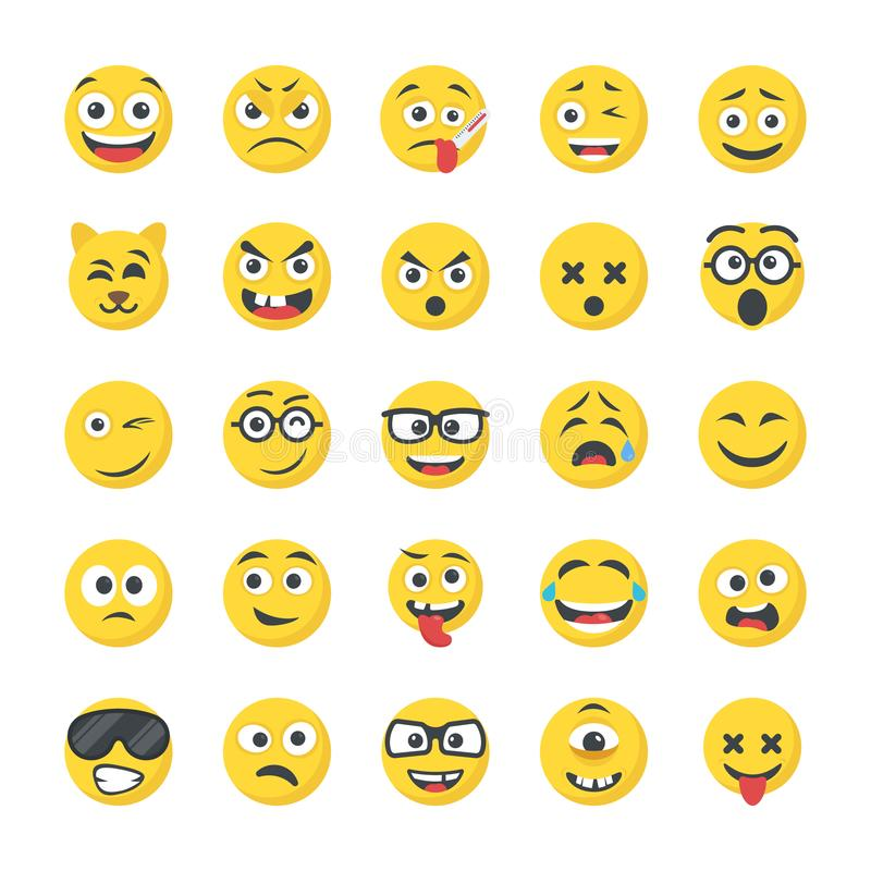 Smiley Flat Icons Pack illustration libre de droits