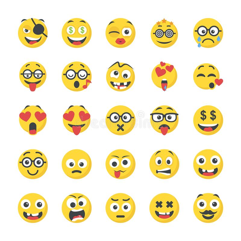 Smiley Flat Icons Pack stock abbildung