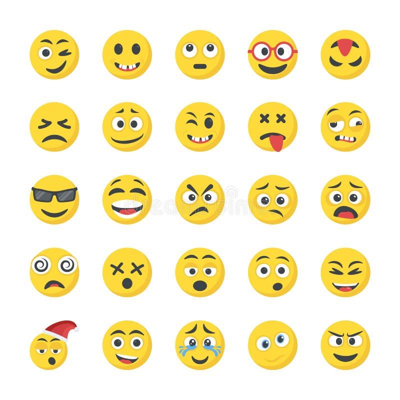 Smiley Flat Icons Set vektor abbildung