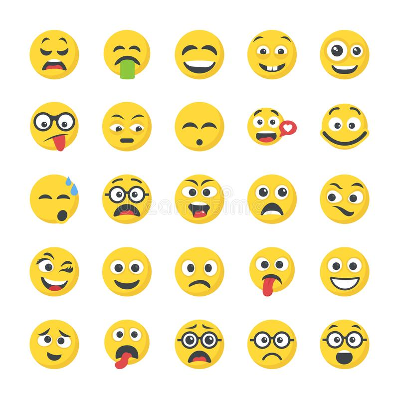 Smiley Flat Icons Set illustration libre de droits