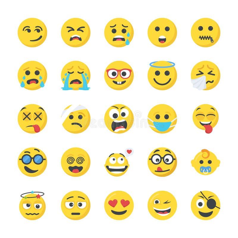 Smiley Flat Icons Set stock abbildung