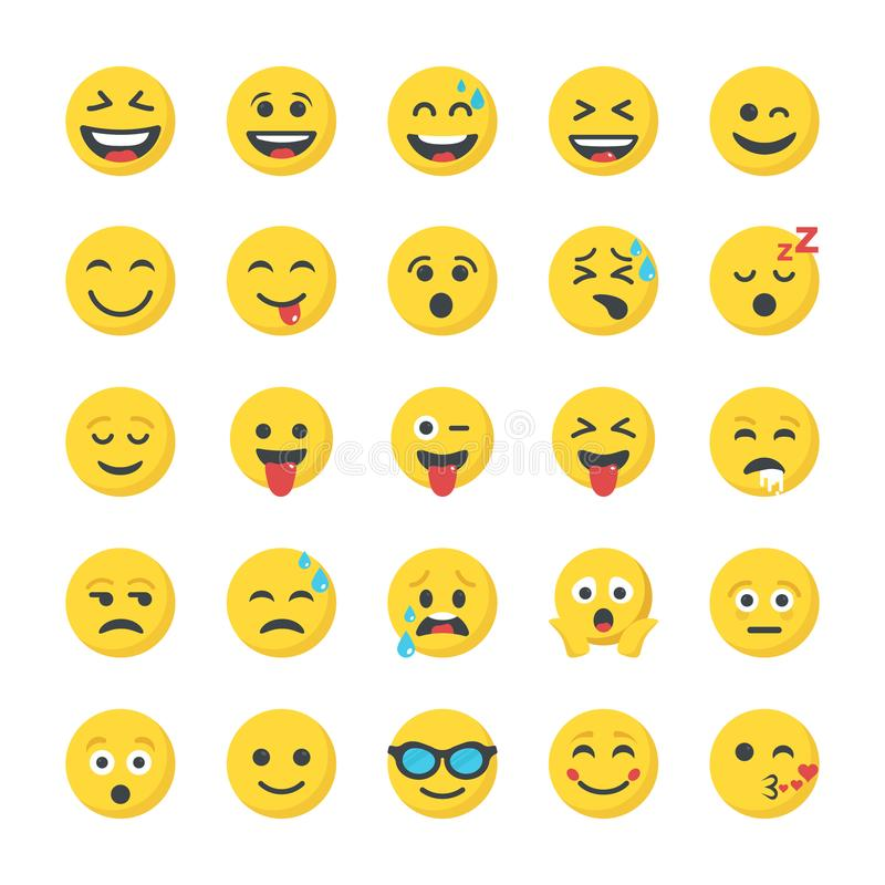 Smiley Flat Icons Set illustration de vecteur
