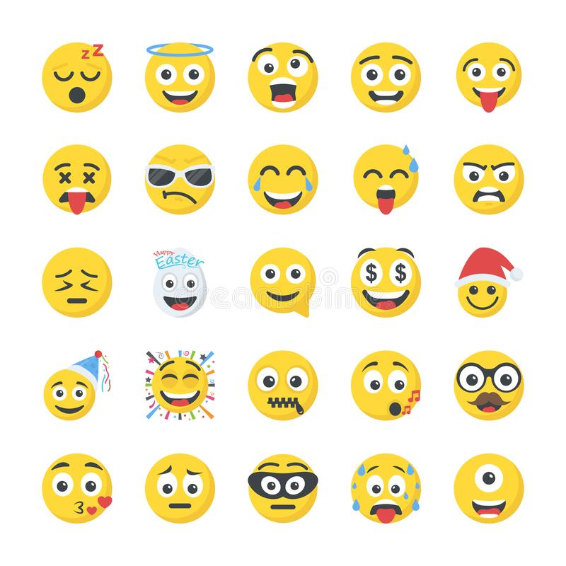 Smiley Flat Icons Set stock illustrationer