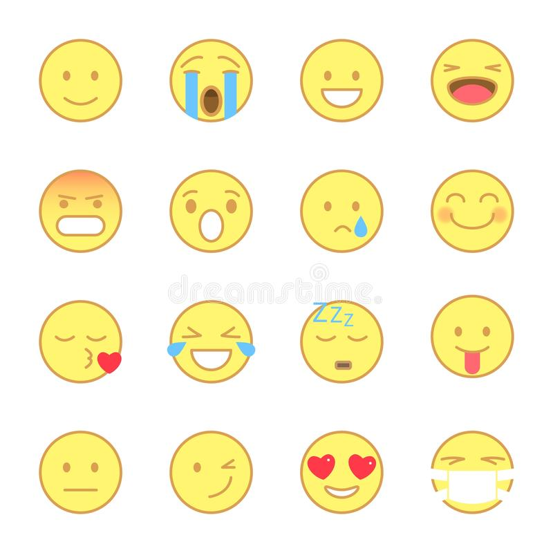 Smiley Flat Icons Set Emoji e linha estilo liso dos emoticons os ícones vector isolado no fundo branco ilustração do vetor
