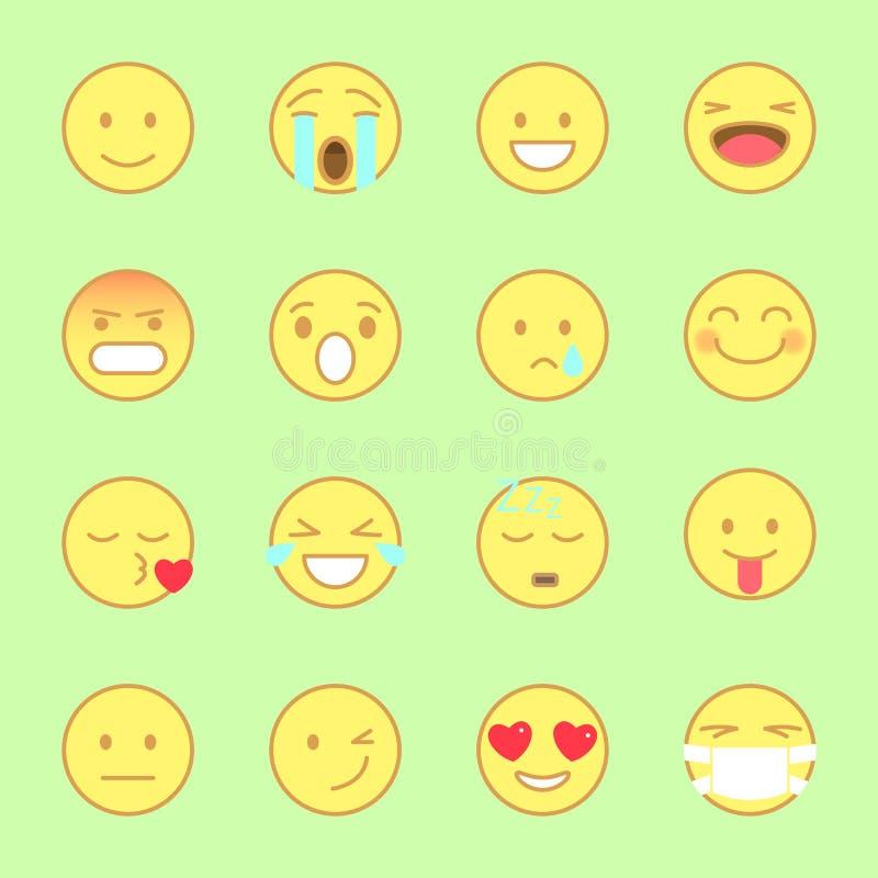 Smiley Flat Icons Set Emoji e linha estilo liso dos emoticons vetor dos ícones no fundo branco ilustração royalty free