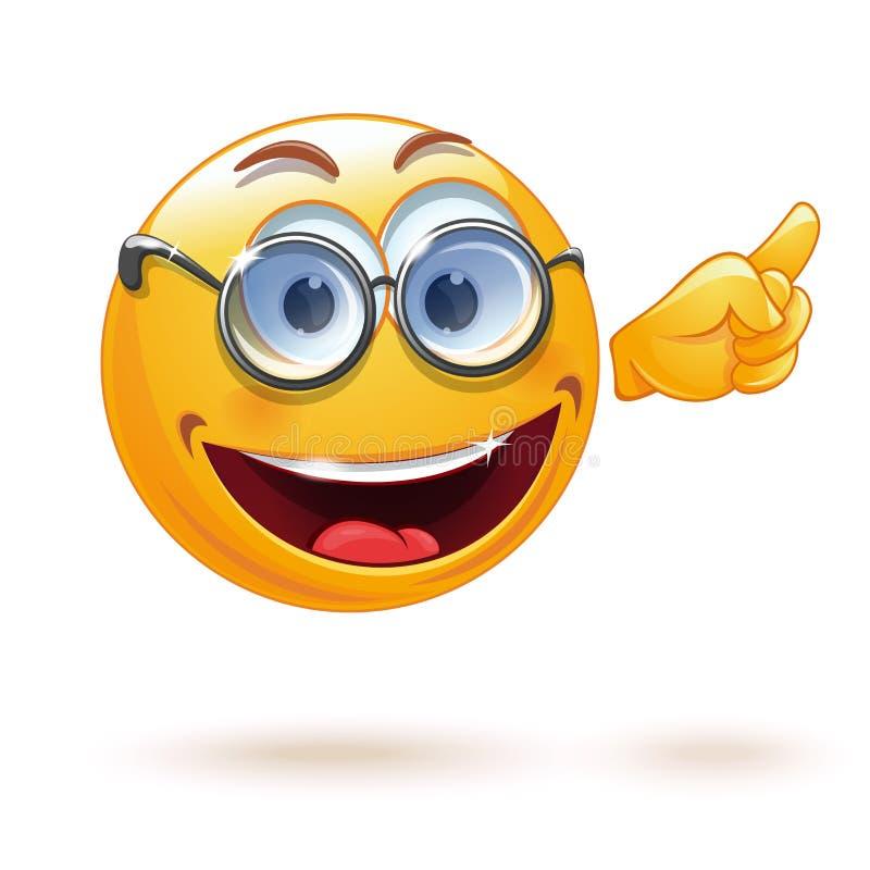 Smiley futé avec des verres illustration stock