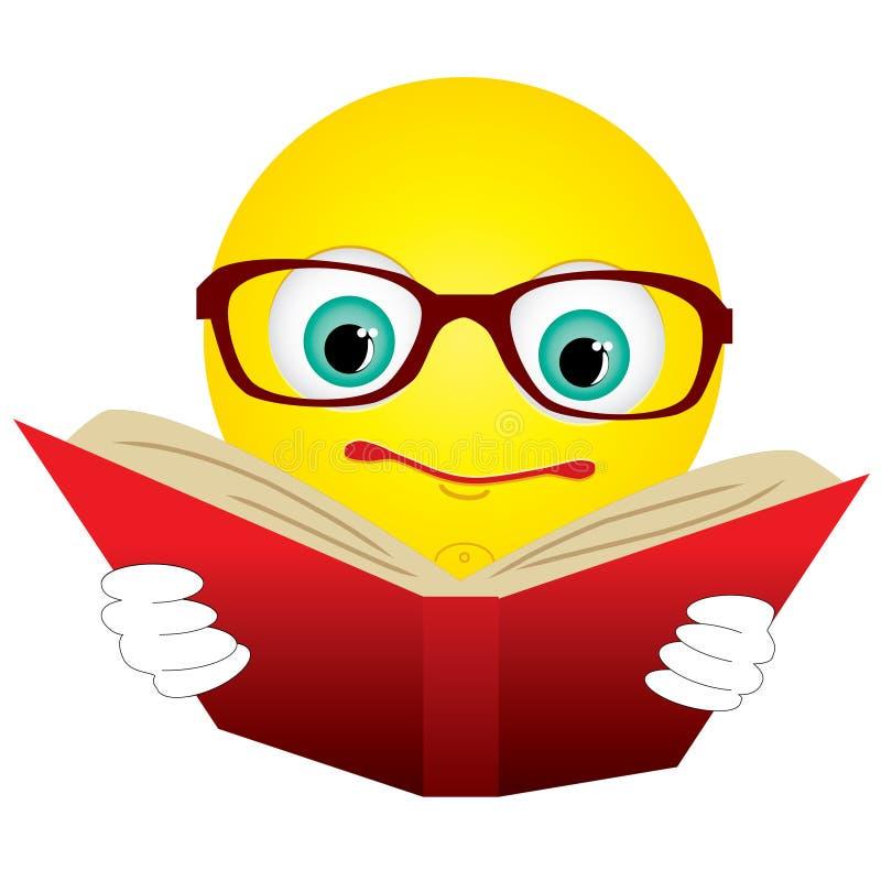 Smiley gelezen boek royalty-vrije illustratie