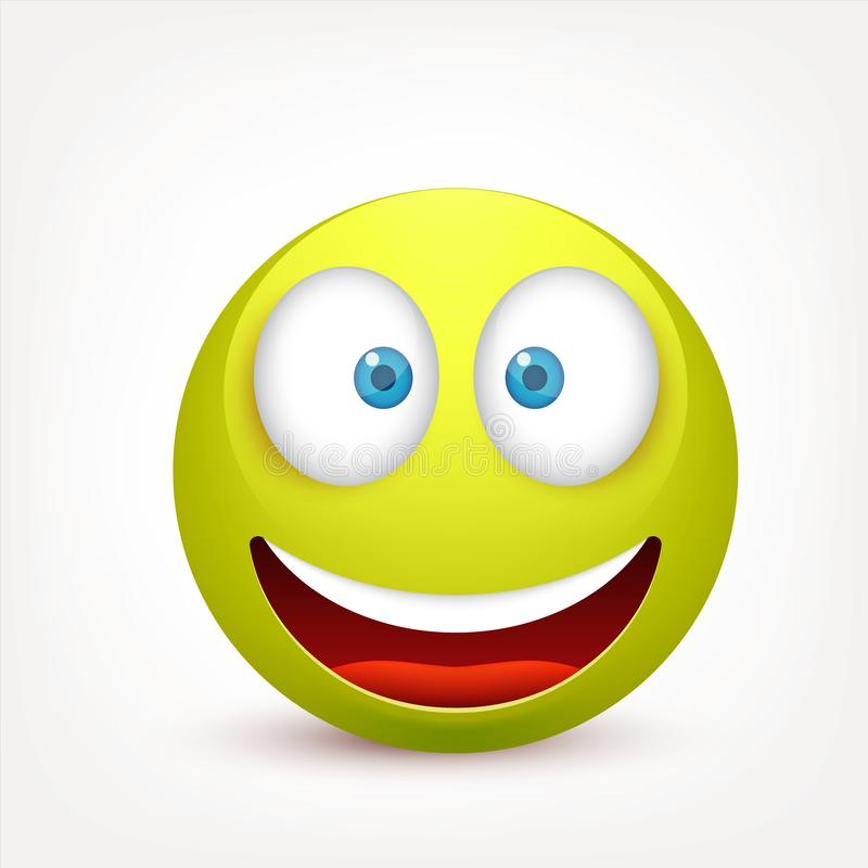 Smiley, green face with emotions.Realistic emoji. Sad or happy,angry emoticon mood.Cartoon character.Vector illustration. Smiley, green face with emotions stock illustration
