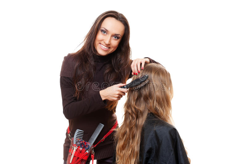 Download Smiley Hairdresser Doing Hairstyle Stock Photo - Image: 23502088