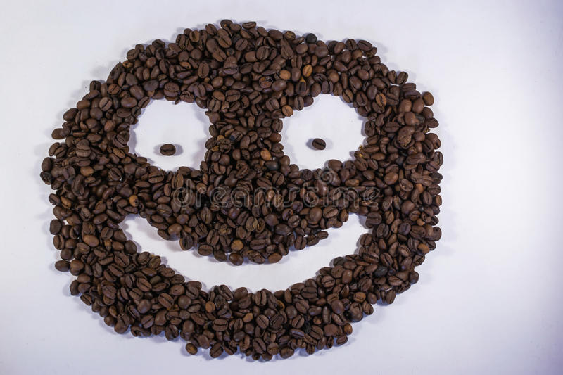 Download Smiley Happy Coffee Bean Face Stock Photo