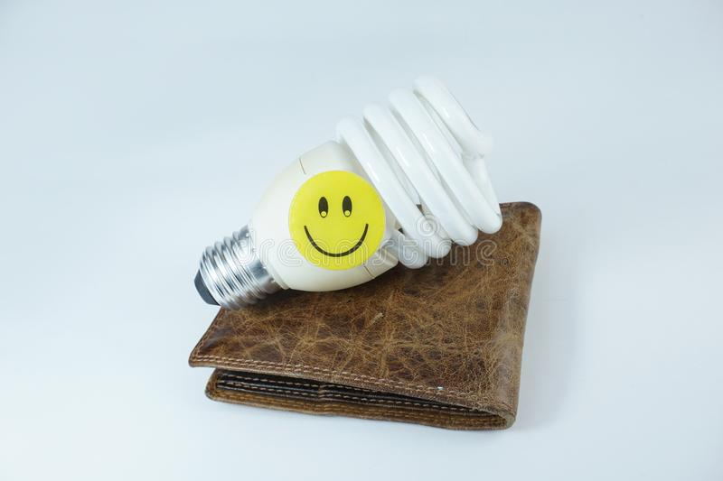 Smiley happy face on energy saving bulb and leather wallet isolated on white background royalty free stock photography