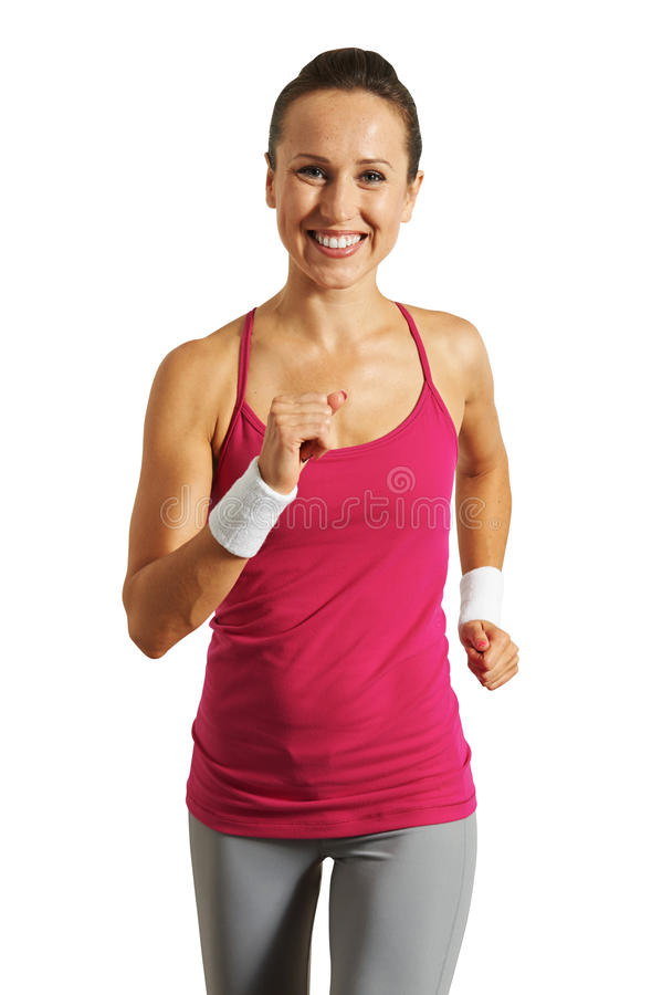 Smiley and happy sportswoman royalty free stock photos