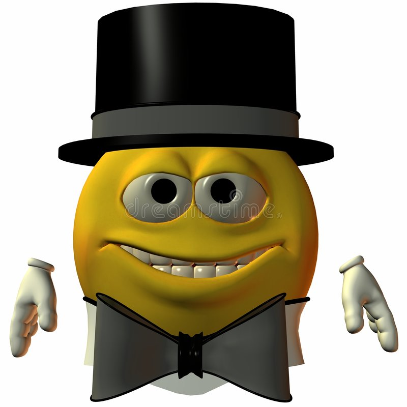 Download Smiley-Hat and Tie stock illustration. Illustration of render - 1713387