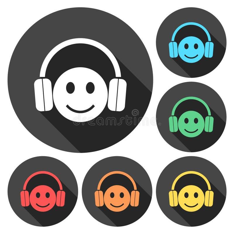 Smiley with headphones icon set. Vector icon vector illustration