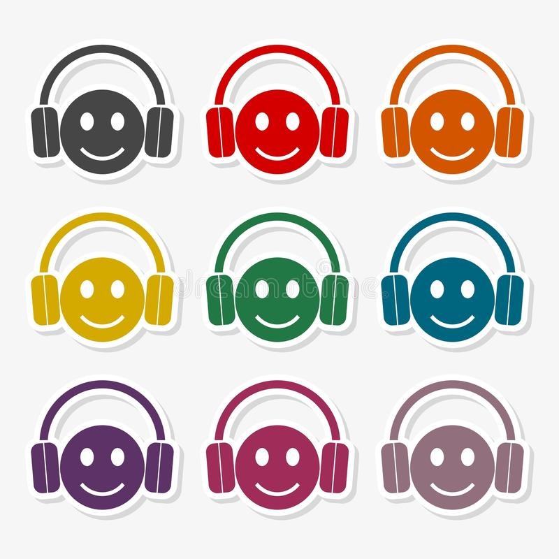 Smiley with headphones icon set. Vector icon royalty free illustration