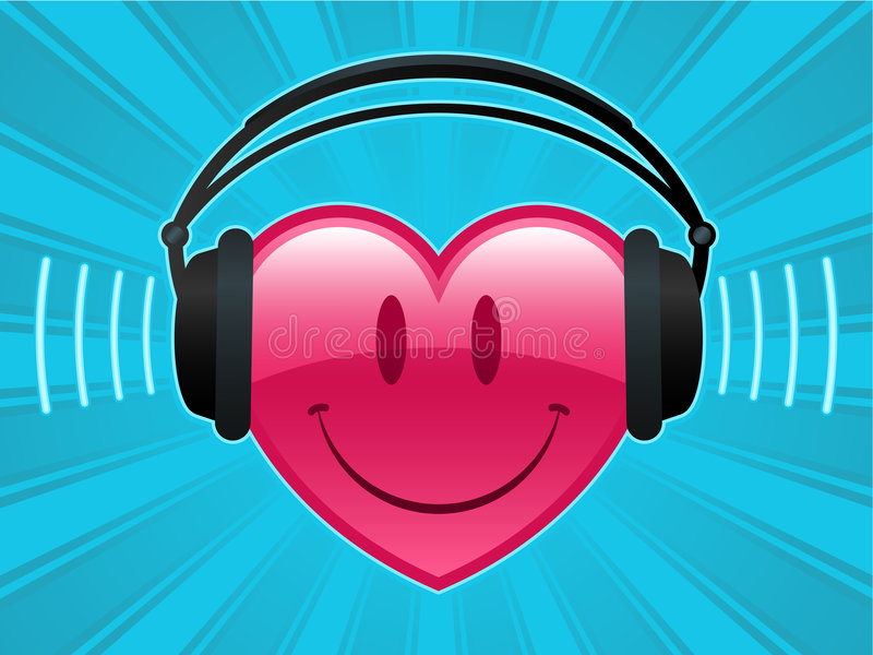 Download Smiley Heart With Headphones Stock Vector - Illustration: 6883032