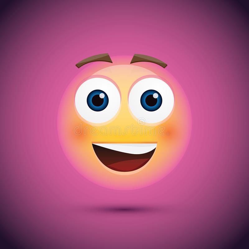 Smiley heureux d'emoji sur le fond pourpre illustration stock