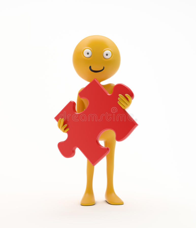Download Smiley Holding A Jigsaw Puzzle Stock Illustration - Image: 24073637