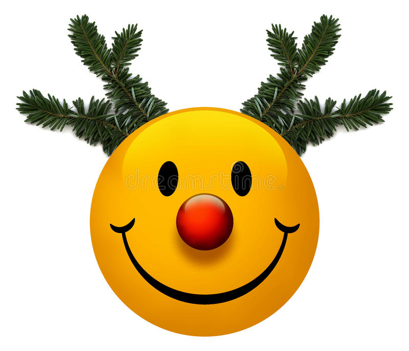Smiley Holiday Icon. A smiley holiday icon with a red nose vector illustration