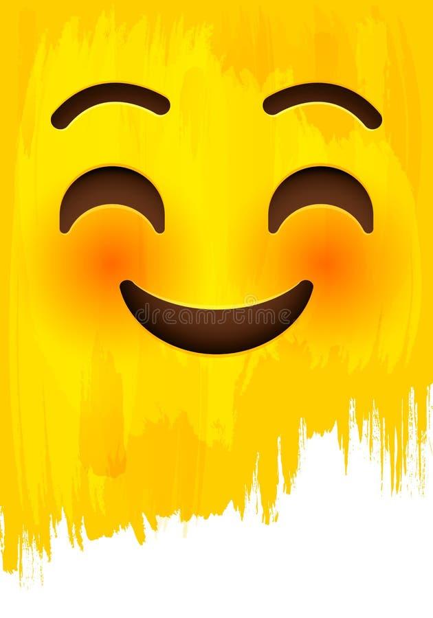 Smiley i spłoniona twarz z szczęśliwymi oczami na żółtej farby ścianie ilustracji