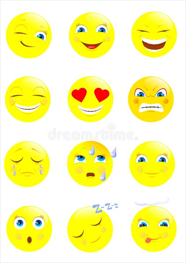Smiley, icône, visage illustration stock