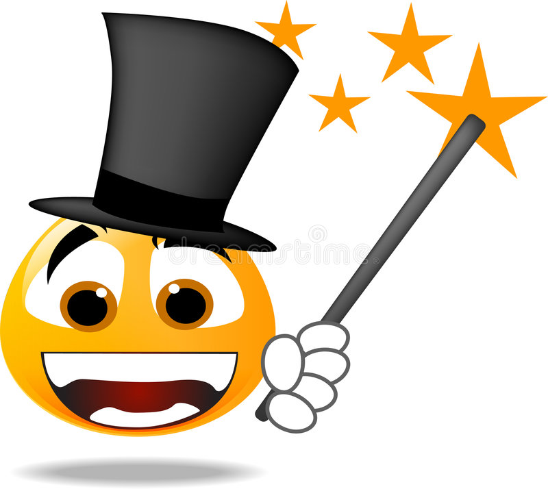 Smiley Icon. Smiley face icon. magician smiley wearing a hat and magic wand royalty free illustration