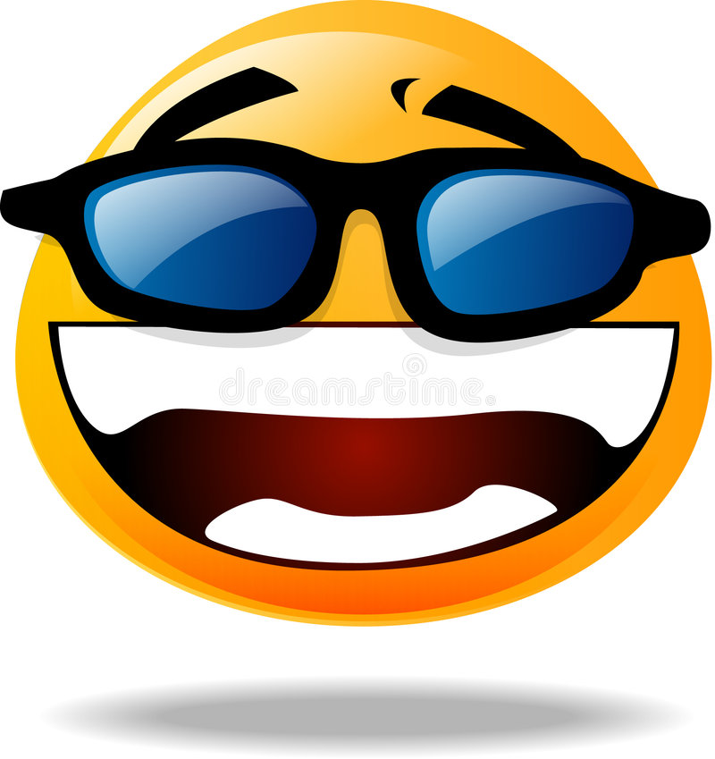 Smiley icon. Happy smiley icon with sunglasses stock illustration