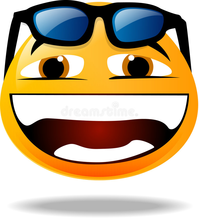 Smiley icon. Funky Smiley icon with sun glasses over his head royalty free illustration