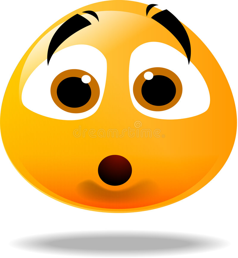 Smiley icon. Shocked yellow smiley face icon royalty free illustration