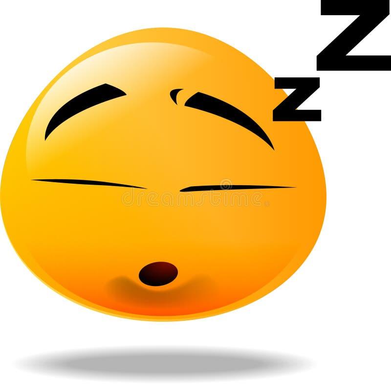 Smiley icon. Yellow smiley face fall asleep stock illustration