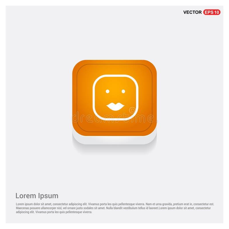 Smiley icon, Face icon Orange Abstract Web Button. Free vector icon royalty free illustration