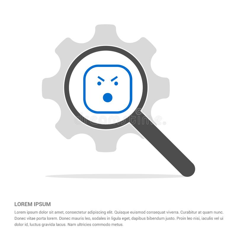 Smiley icon, Face icon Search Glass with Gear Symbol Icon templ. Smiley icon, Face icon - Free vector icon stock illustration