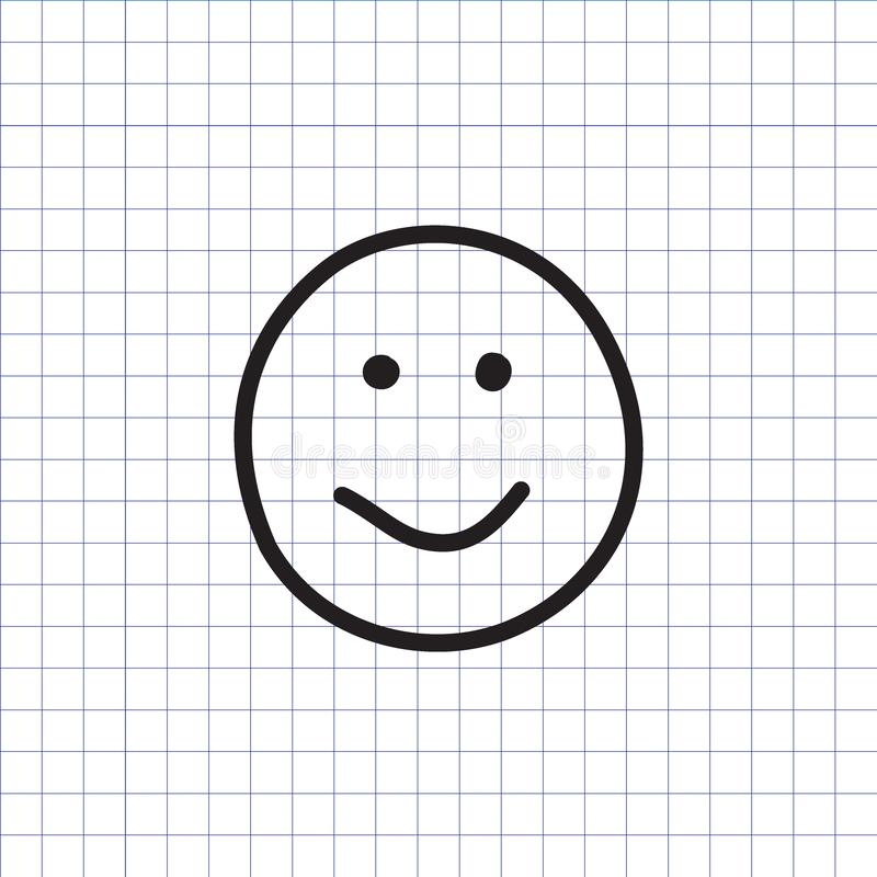 Smiley icon. Happy face symbol. Smiley icon on the exercise book background. Hand drawn happy face symbol. Vector illustration royalty free illustration
