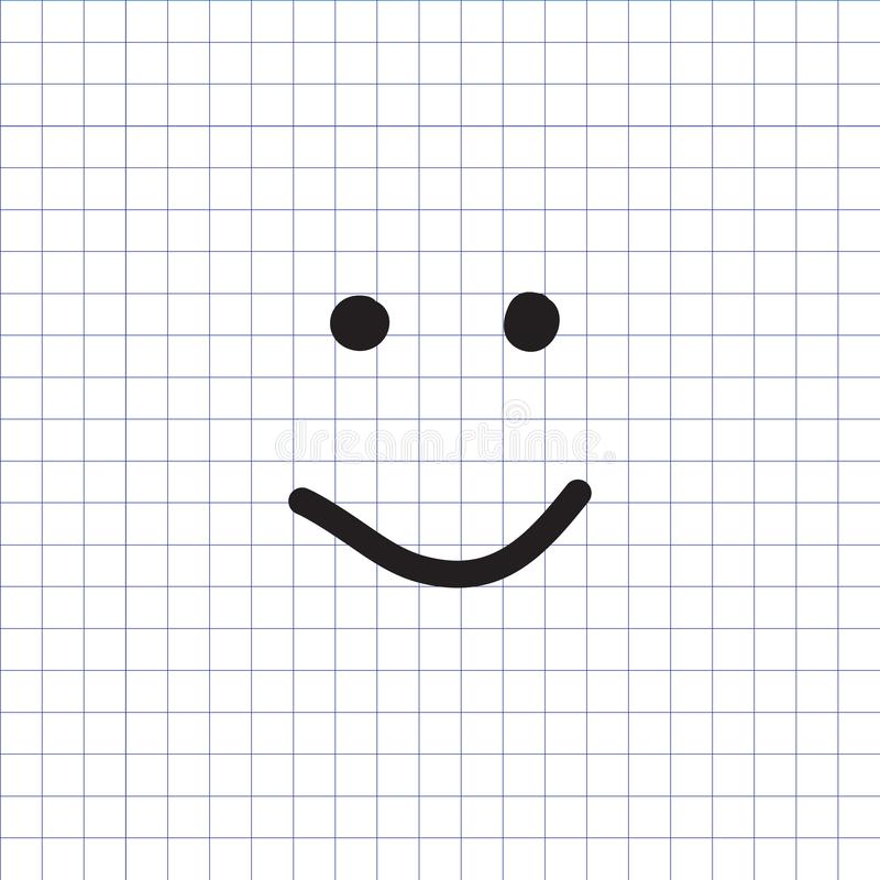 Smiley icon. Happy face symbol. Smiley icon on the exercise book background. Hand drawn happy face symbol. Vector illustration vector illustration