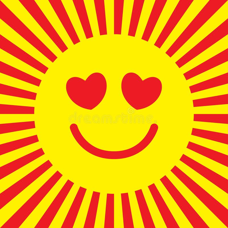Smiley icon in love. Sun with heart shaped eyes. Pop art style. Bright vector illustration vector illustration