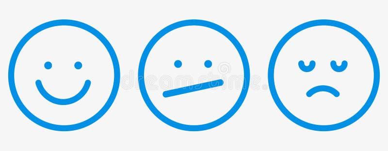 Smiley icon outline feedback set vector emotions. Smiley icon outline feedback set vector stock illustration