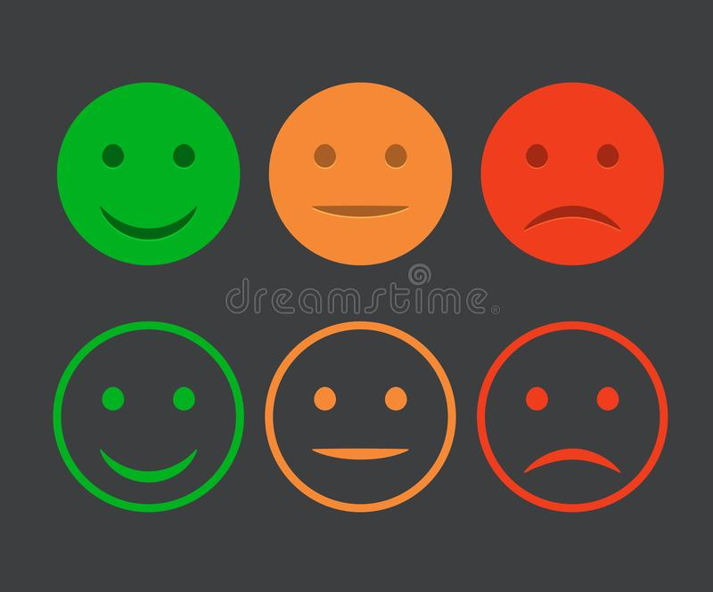 Smiley icon set. Emoticons positive, neutral and negative. Vector isolated red and green mood. Rating smile for customer opinion.  stock illustration