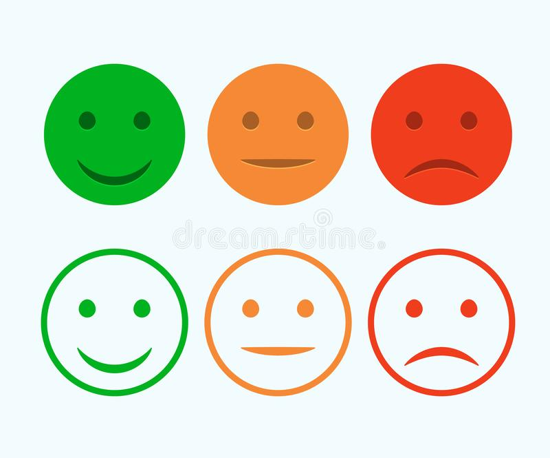 Smiley icon set. Emoticons positive, neutral and negative. Vector isolated red and green mood. Rating smile for customer opinion.  vector illustration